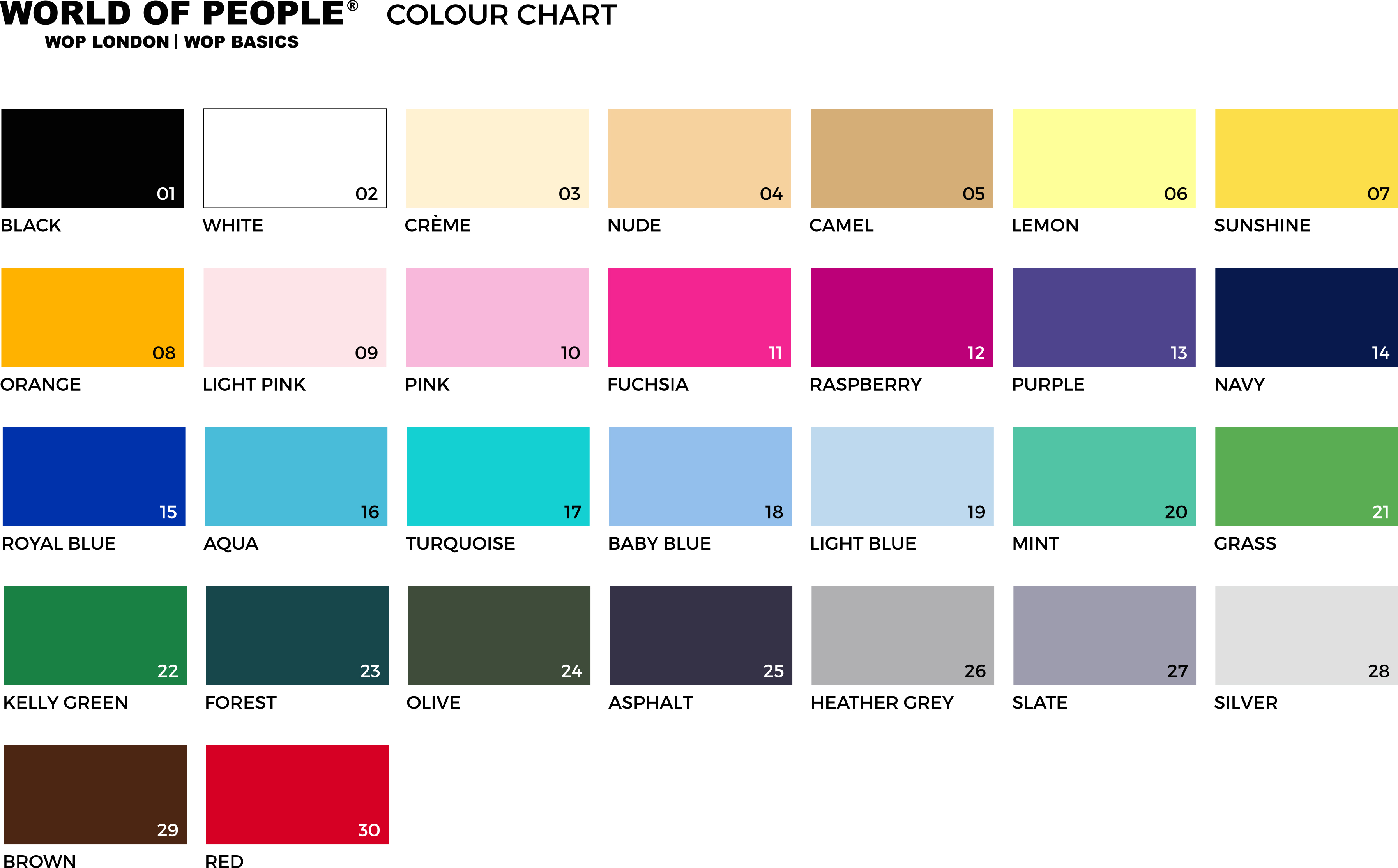 wop colour chart